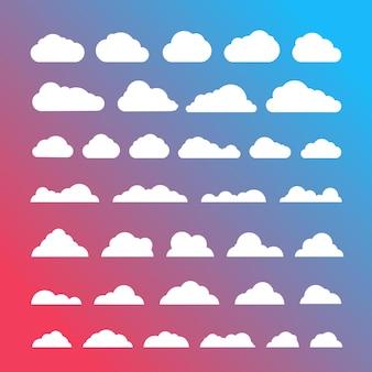 Witte wolken silhouetten vector collectie op gradint achtergrond
