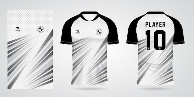 Witte zwarte sporttrui-sjabloon voor teamuniformen en voetbalt-shirtontwerp