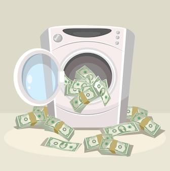Witwassen van geld in de wasmachine.