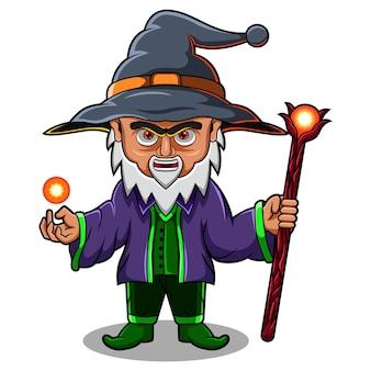 Wizard chibi mascotte logo