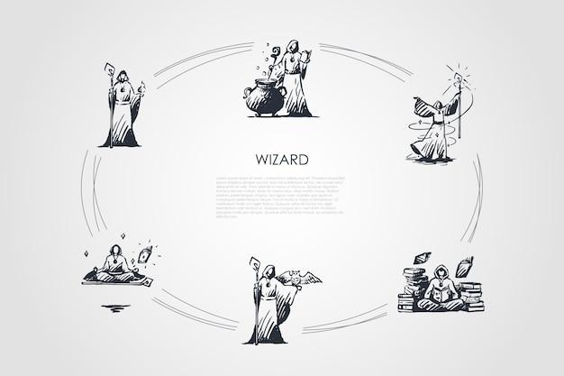 Wizard concept set illustratie