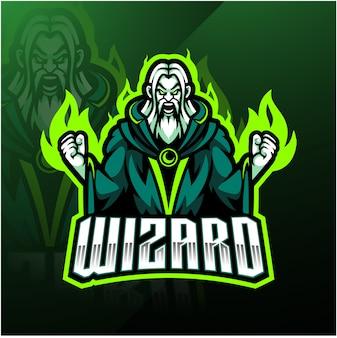 Wizard esport mascotte logo ontwerp