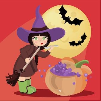 Wizard girl mystic holiday halloween witch cartoon hand drawn
