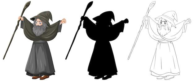 Wizard in kleur en overzicht en silhouet stripfiguur geïsoleerd op een witte achtergrond