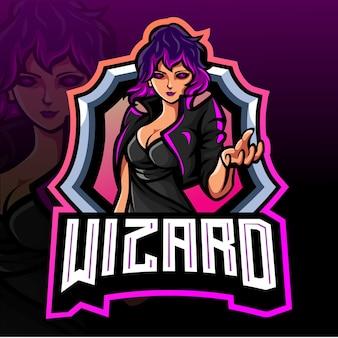 Wizard mage mascotte esport logo ontwerp