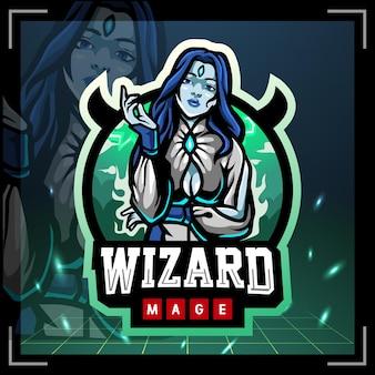Wizard magiër mascotte esport logo ontwerp logo