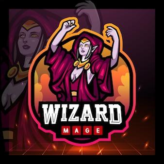 Wizard magiër mascotte esport logo ontwerp