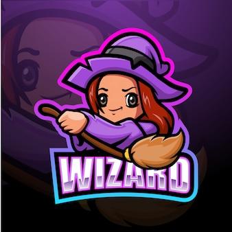 Wizard mascotte esport illustratie