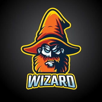 Wizard mascotte esport logo ontwerp