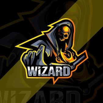 Wizard mascotte logo esports ontwerpsjabloon