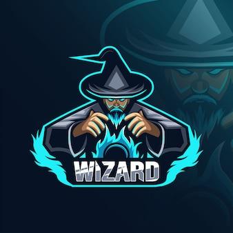 Wizard mascotte logo ontwerp