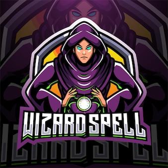 Wizard spell esport mascotte logo ontwerp