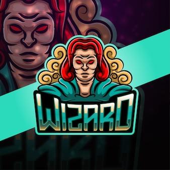 Wizard sport mascotte logo ontwerp