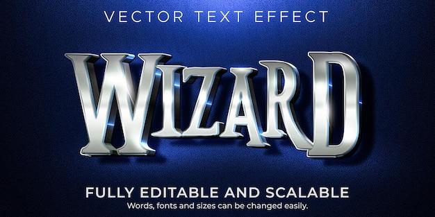 Wizard-teksteffect, bewerkbare metalen en glanzende tekststijl