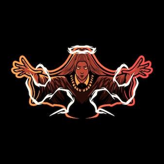 Wizard vrouw mascotte esport logo afbeelding