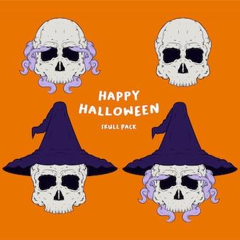 Wizzard-schedelhoofd voor halloween-het embleempakket van de illustratiemascotte