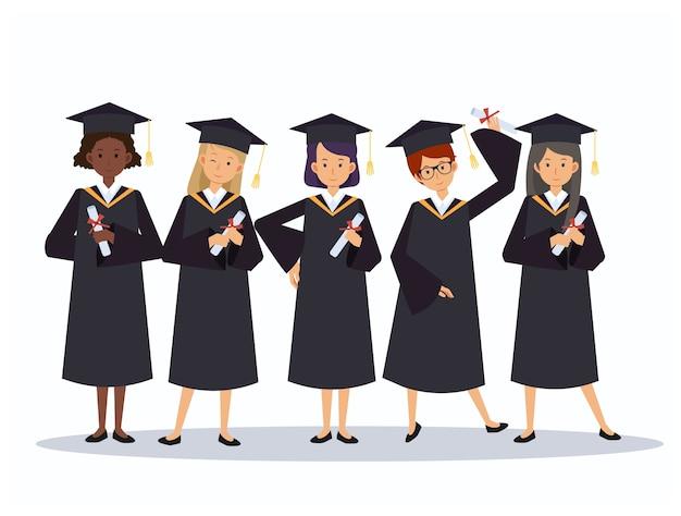 Woamn meisje groep gelukkig lachend afgestudeerden in toga afstuderen met diploma's in hun handen. illustratie concept afstuderen ceremonie cartoon stijl