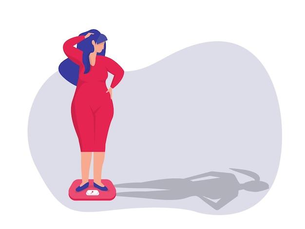 Woamn op zoek naar haar lichaam dunne schaduw voor dieet gezond concept vector illustrator