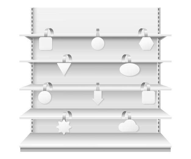 Wobblers op planken realistische vitrineweergave met sjabloon voor witte prijskaartjes
