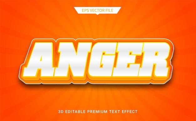 Woede 3d bewerkbare tekststijl effect premium vector