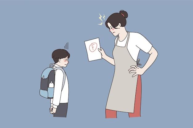 Woede en relaties tussen ouder en kindconcept. boze vrouwenmoeder die naar haar zoon kijkt en zich woedend voelt omdat zijn slechte cijfertest op school vectorillustratie is