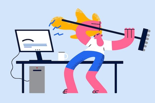Woede woede en stress op het werk concept
