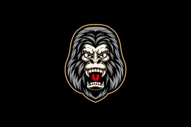 Woest gorilla hoofd esport logo