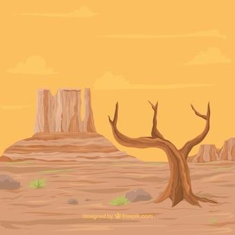 Woestijn achtergrond met droge boom