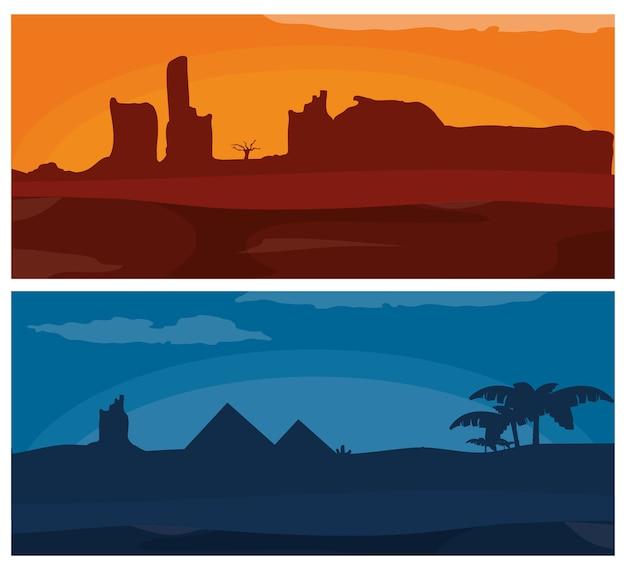 Woestijn bij zonsondergang en nacht