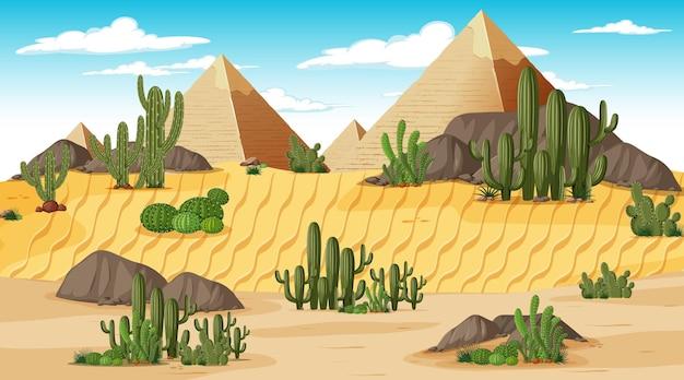 Woestijn boslandschap bij dagtijdscène met piramide van gizeh