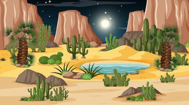 Woestijn boslandschap bij nachtscène met oase