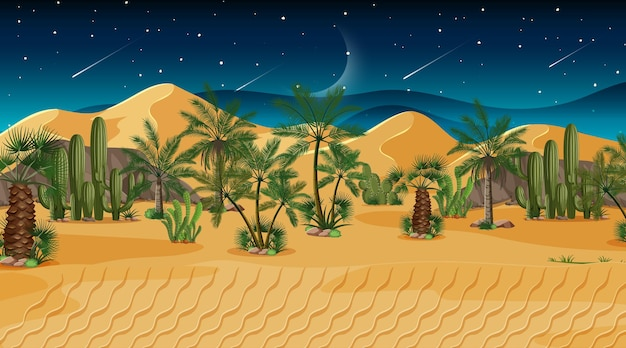 Woestijn boslandschap bij nachtscène