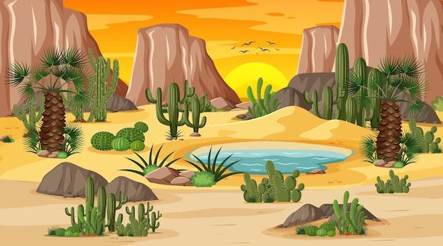 Woestijn boslandschap bij zonsondergangscène met oase