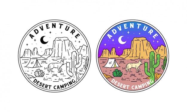 Woestijn camping monoline badge