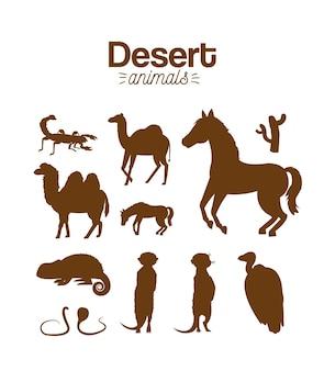 Woestijn dieren hand tekening cartoon