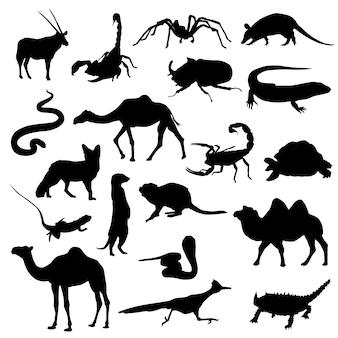 Woestijn dieren silhouet illustraties scrapbook vector