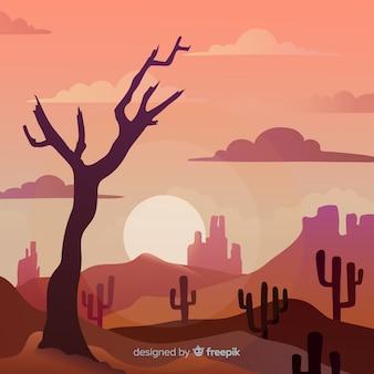 Woestijn landschap achtergrond met cactus