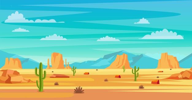 Woestijn landschap. cactusplanten en rotsen op het zand. natuurlijke achtergrond. landschap arizona of mexico heet zand. vectorillustratie in vlakke stijl