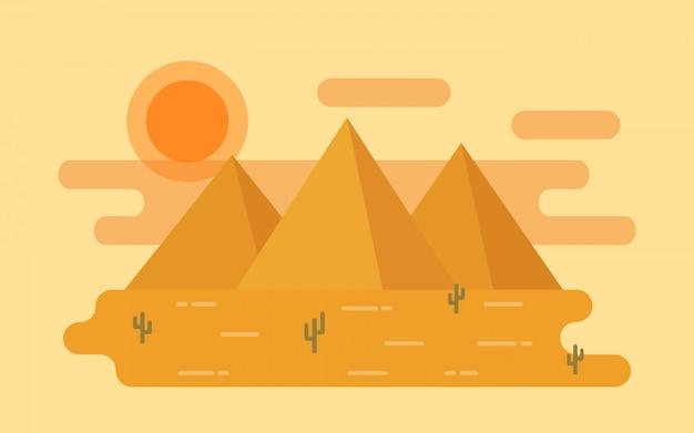 Woestijn landschap. illustratie in flat.