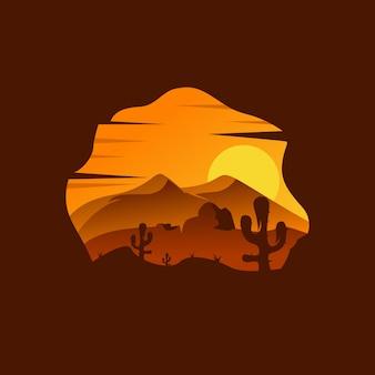 Woestijn landschap illustratie