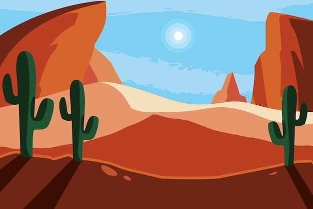 Woestijn landschap scène achtergrond