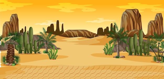 Woestijn met palmen en het landschapsscène van de cactusaard