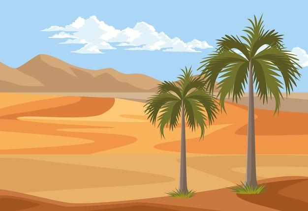 Woestijn met palmen