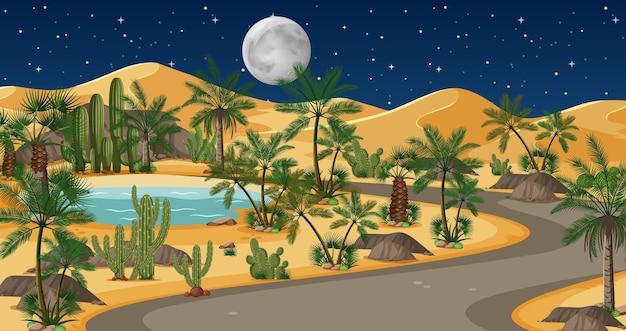 Woestijn met weg en palmen en catusaardlandschap bij nachtscène