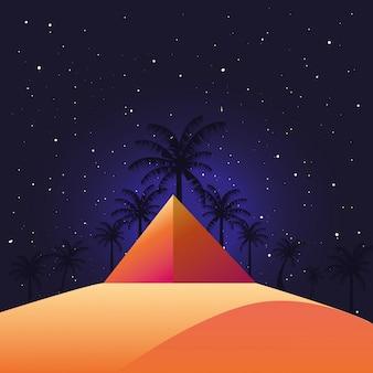 Woestijn nacht landschap