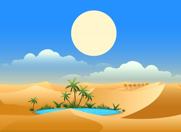 Woestijn oase illustratie