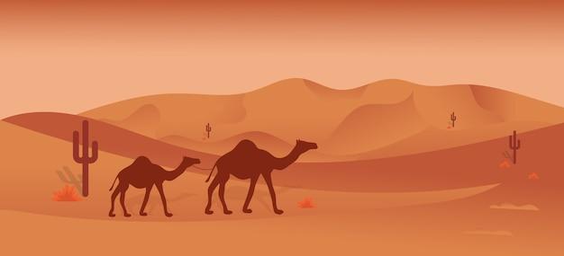 Woestijn safari illustratie