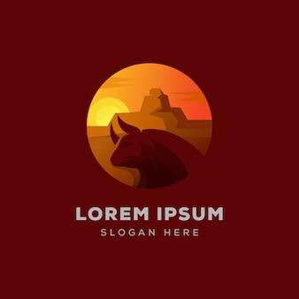 Woestijn stier logo illustratie vector