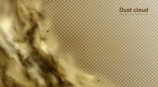 Woestijn zandstorm achtergrond, bruine stoffige wolk op transparant