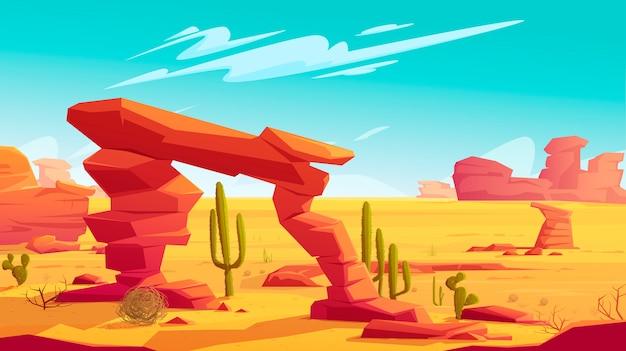 Woestijnboog en tumbleweed op natuurlijk landschap